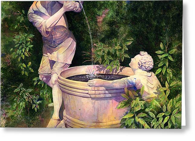 Garden Statuary Greeting Cards - The Secret Fountain Greeting Card by Kristina Storey
