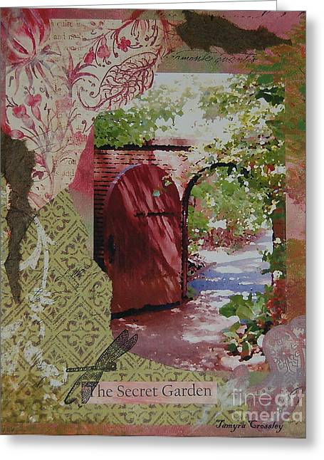 Painted Garden Gate Greeting Cards - The Secret Garden Greeting Card by Tamyra Crossley
