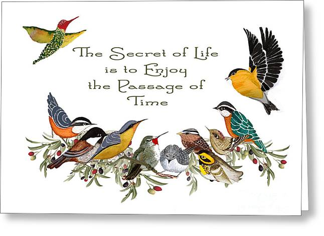 Little Tapestries - Textiles Greeting Cards - The Secret of Life Greeting Card by Alexandra  Sanders