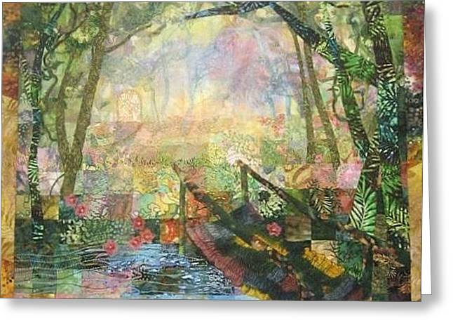 Stream Tapestries - Textiles Greeting Cards - The Secret Place Greeting Card by Carol Bridges