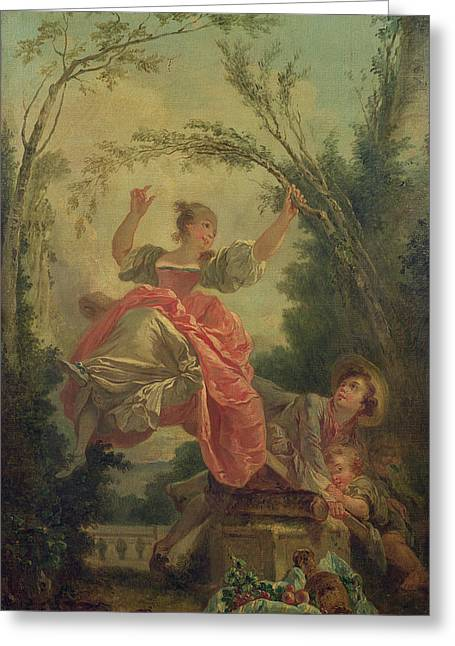 Playful Greeting Cards - The See-saw Oil On Canvas Greeting Card by Jean-Honore Fragonard