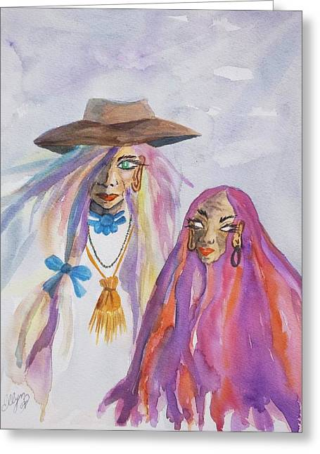 Gypsy Greeting Cards - The Seer Greeting Card by Ellen Levinson