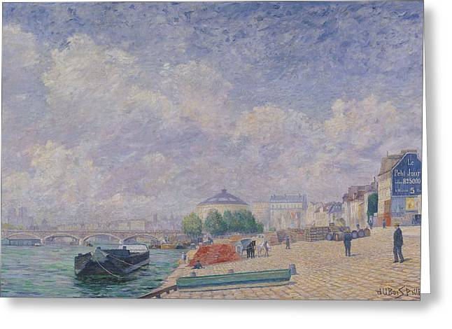 Barge Greeting Cards - The Seine At Bercy, 1885 Oil On Canvas Greeting Card by Albert Dubois-Pillet