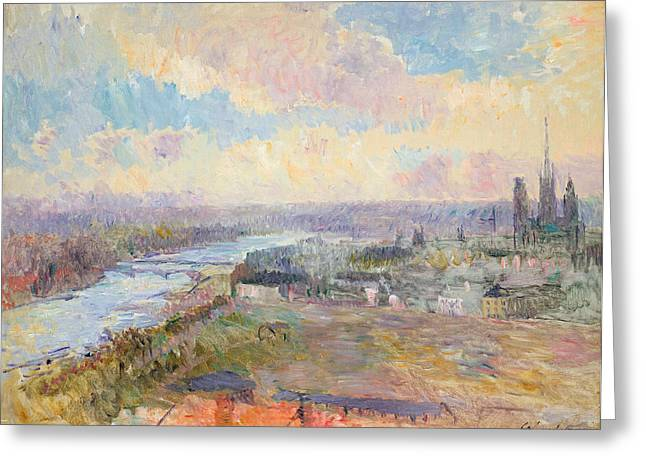 Charles River Paintings Greeting Cards - The Seine at Rouen Greeting Card by Albert Charles Lebourg