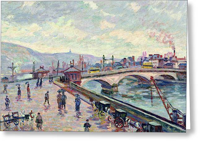 The Seine At Rouen Greeting Card by Jean Baptiste Armand Guillaumin