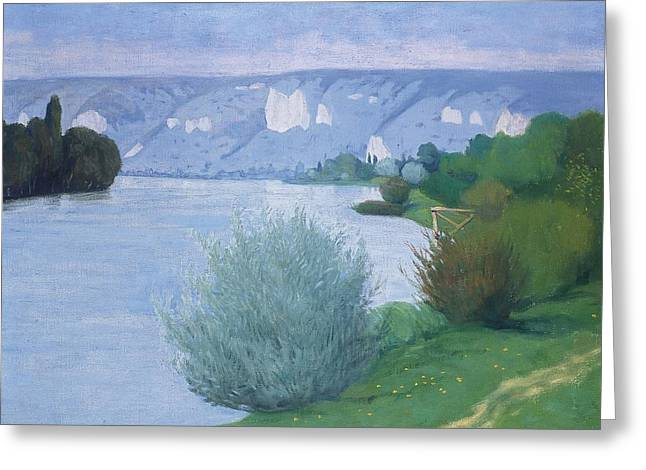 Vallotton Greeting Cards - The Seine near Les Andelys Greeting Card by Felix Edouard Vallotton