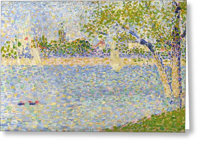 La Grande Jatte Greeting Cards - The Seine seen from La Grande Jatte Greeting Card by Georges Seurat