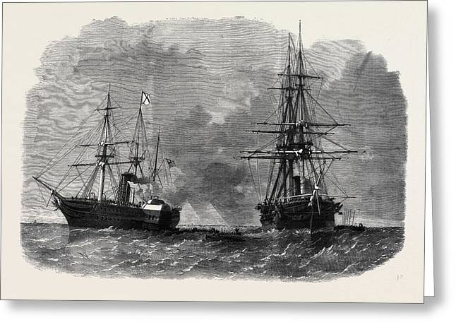 The Seizure By Captain Wilks Of The United States War Ship Greeting Card by American School