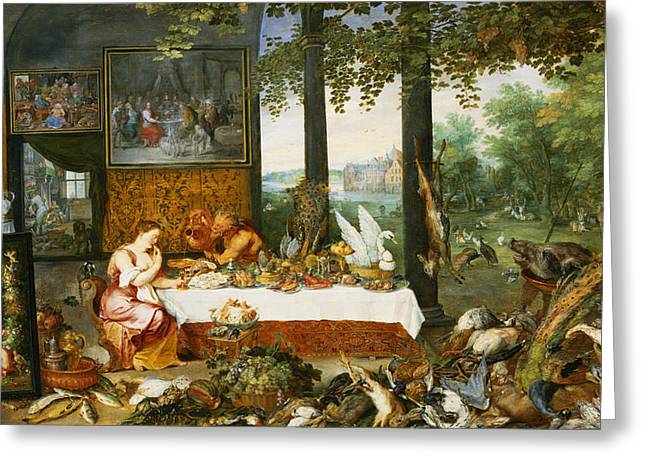 Boar Greeting Cards - The Sense Of Taste, 1618 Oil On Panel Greeting Card by Jan Brueghel