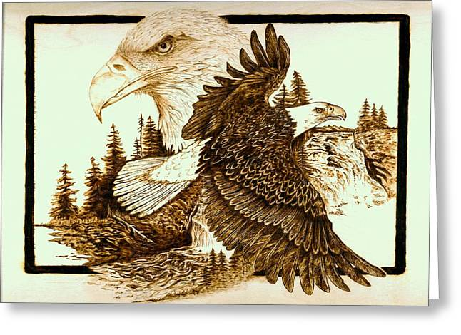 Eagle Pyrography Greeting Cards - The Sentinel Greeting Card by Danette Smith