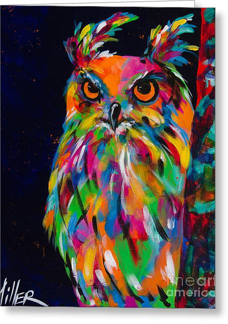 Colorful Owl Greeting Cards - The Sentinel Greeting Card by Tracy Miller