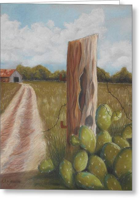 Old Fence Posts Pastels Greeting Cards - The Sentry Greeting Card by Charlyn LeJeune