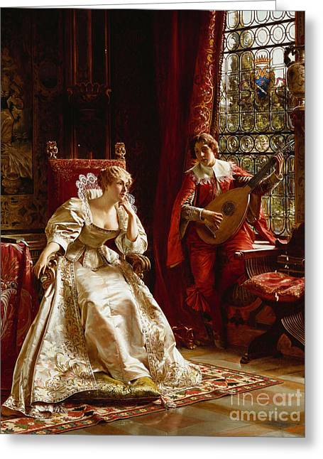 Antiquated Greeting Cards - The Serenade Greeting Card by Joseph Frederick Charles Soulacroix