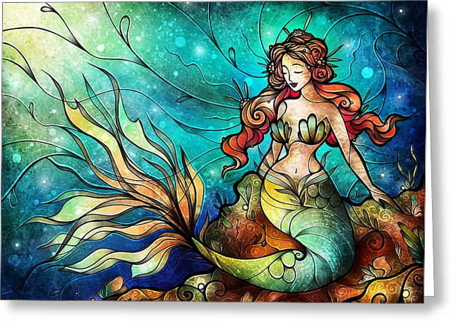 Recently Sold -  - Fish Digital Art Greeting Cards - The Serene Siren Greeting Card by Mandie Manzano
