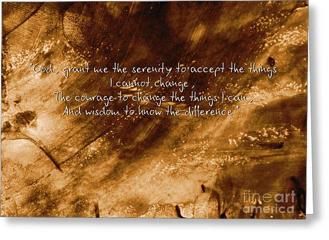 Recently Sold -  - Praying Hands Greeting Cards - The Serenity Prayer 1 Greeting Card by Andrea Anderegg