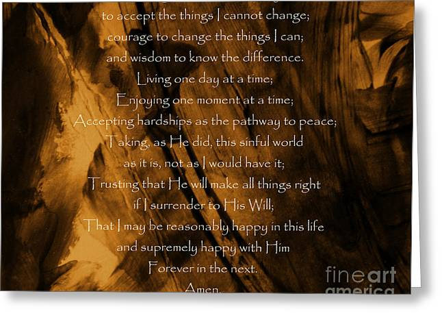Born Again Photographs Greeting Cards - The Serenity Prayer Greeting Card by Andrea Anderegg