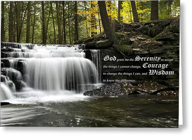 Stream Digital Art Greeting Cards - The Serenity Prayer Greeting Card by Christina Rollo