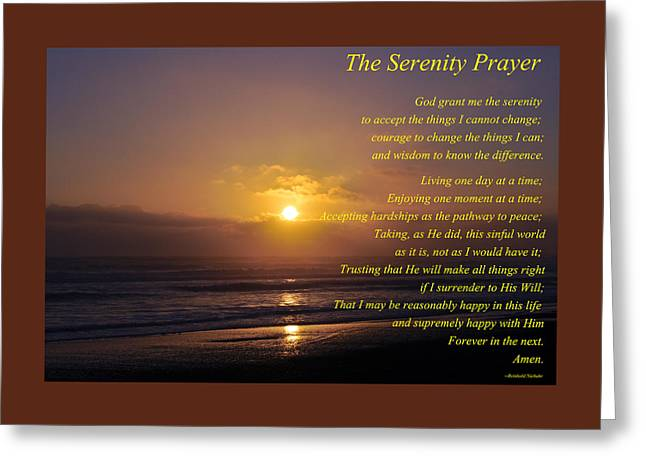 Quietly Greeting Cards - The Serenity Prayer Greeting Card by Roger Reeves  and Terrie Heslop