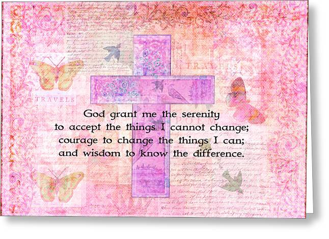 Serenity Prayer Mixed Media Greeting Cards - The Serenity Prayer with butterflies and cross Greeting Card by Alley Costa