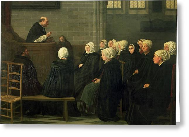Preacher Greeting Cards - The Sermon, 1871 Greeting Card by Alphonse Legros