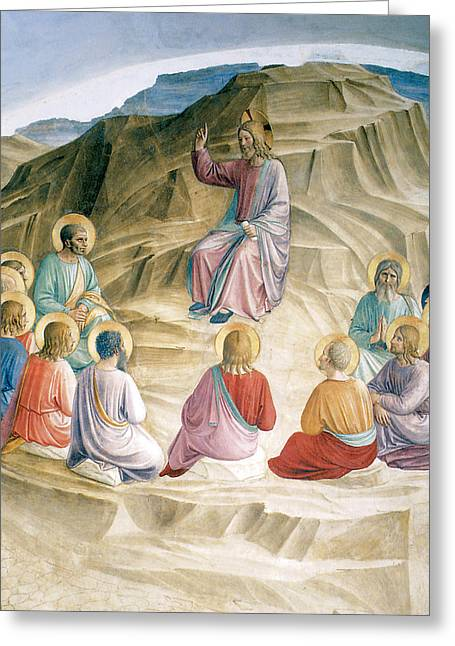 Jesus Sermon Greeting Cards - The Sermon on the MOunt Greeting Card by Fra Angelico