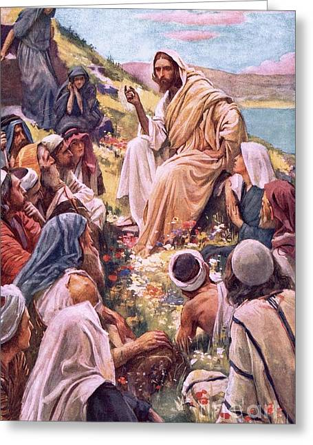 The Followers Greeting Cards - The Sermon On The Mount Greeting Card by Harold Copping