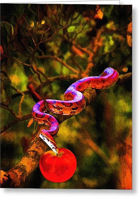 Masking Digital Art Greeting Cards - The Serpent Greeting Card by John Haldane