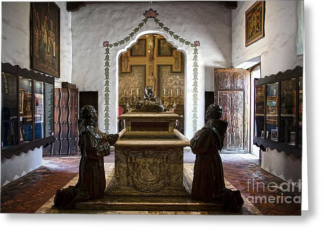 Borromeo Greeting Cards - The Serra Cenotaph in Carmel Mission Greeting Card by RicardMN Photography