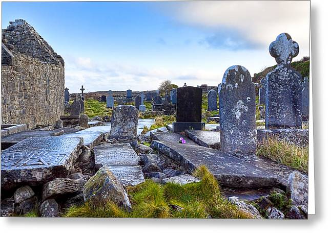 Galway Bay Greeting Cards - The Seven Churches Ruins on Inis Mor Greeting Card by Mark Tisdale