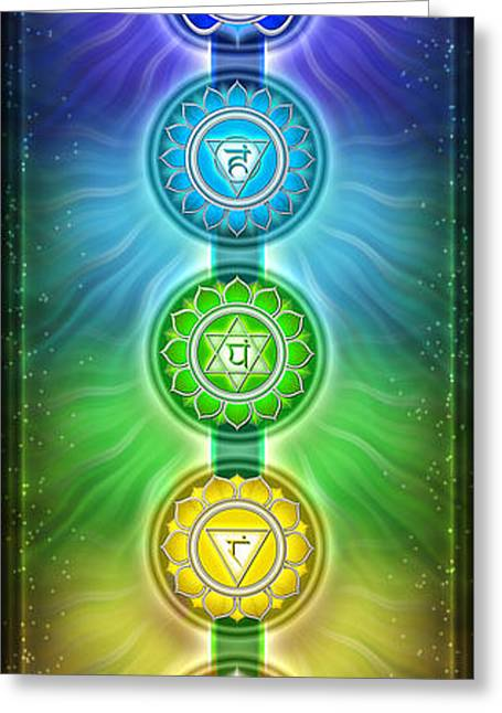 Hinduism Greeting Cards - The Seven Main Chakras I Series 2011 Greeting Card by Dirk Czarnota