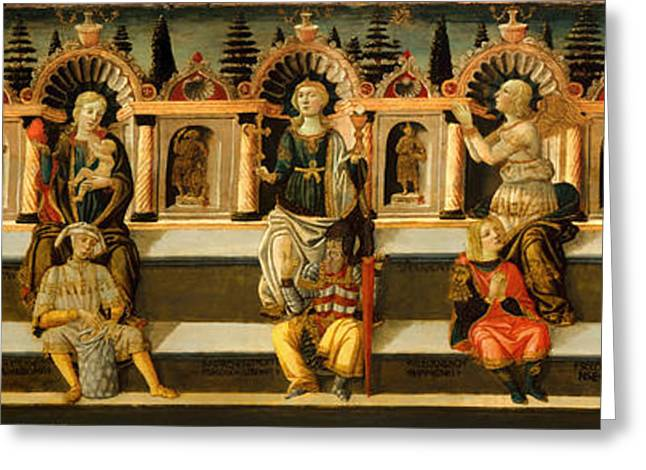 Religious Artwork Paintings Greeting Cards - The Seven Virtues Greeting Card by Anton Scheggia