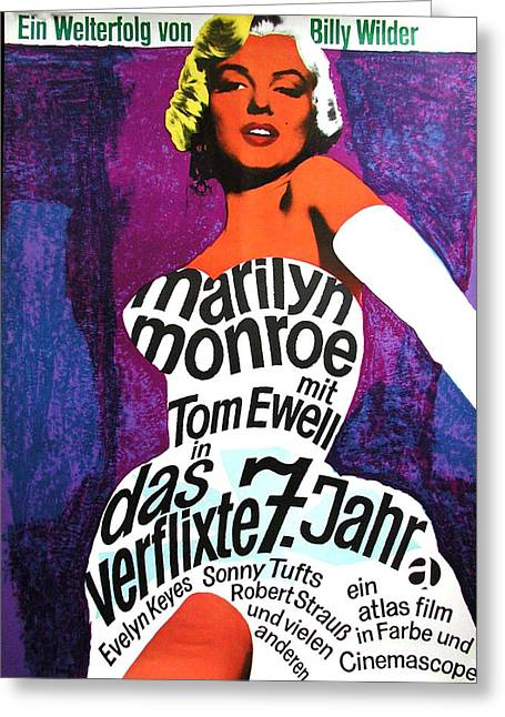 Recently Sold -  - 1955 Movies Greeting Cards - The Seven Year Itch German Greeting Card by Nomad Art And  Design