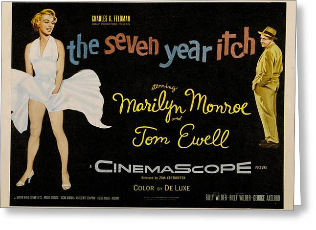 1955 Movies Greeting Cards - The Seven Year Itch Greeting Card by Nomad Art And  Design