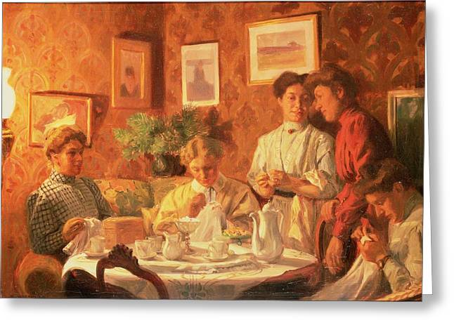 The Sewing Group, 1909 Oil On Canvas Greeting Card by Nils Larson