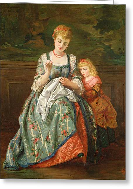 Sewing Greeting Cards - The Sewing Lesson Greeting Card by Edward Charles Barnes
