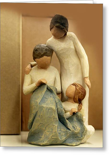 Wood Carving Greeting Cards - The Sewing Lesson Greeting Card by Linda Phelps