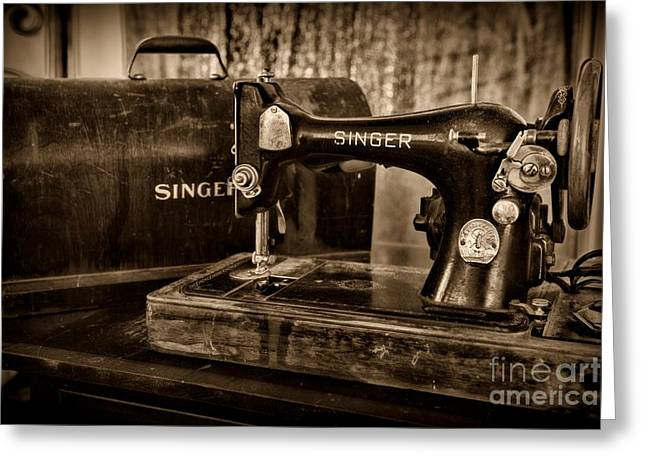 Sewing Hobby Greeting Cards - The Sewing Machine in Black and White Greeting Card by Paul Ward