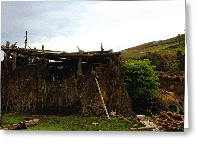 Peru Greeting Cards - The Shack Greeting Card by Pedro MC