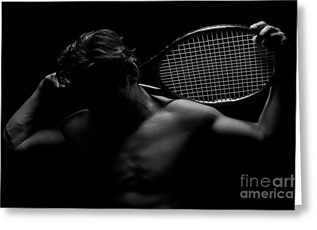 Racquet Greeting Cards - The Shadowed Player Greeting Card by David Lee