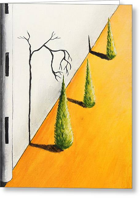 Depression Drawings Greeting Cards - The Shadows get me Greeting Card by Nirdesha Munasinghe
