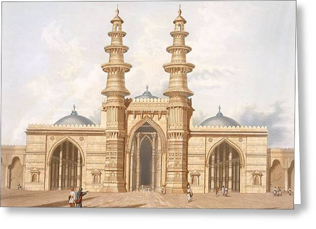 Entrance Door Greeting Cards - The Shaking Minarets Of Ahmedabad Greeting Card by Captain Robert M. Grindlay