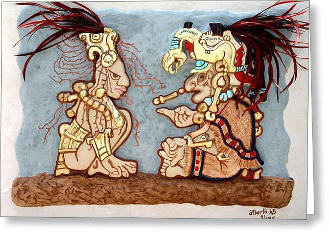 work Reliefs Greeting Cards - The Shaman and the Goddess of Corn Greeting Card by Alberto H-B