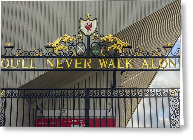 Never Alone Greeting Cards - The Shankly Gates - Liverpool FC Greeting Card by Paul Madden