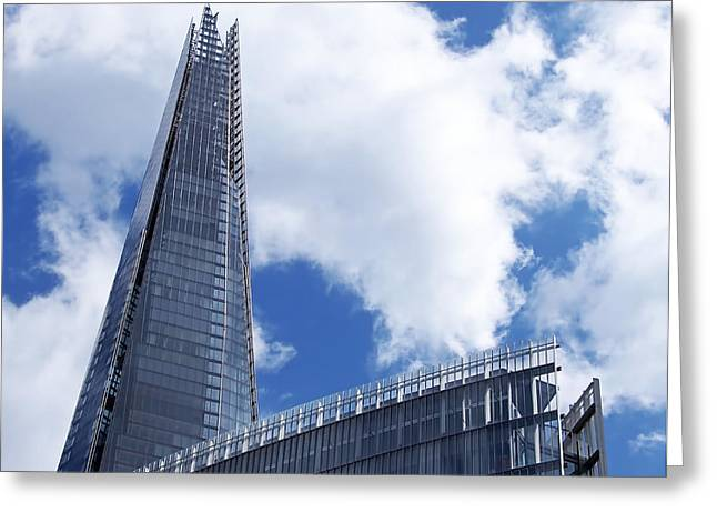 Steel Greeting Cards - The Shard and The Place - London Greeting Card by Rona Black