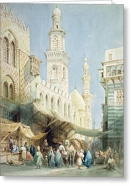 Egypt Greeting Cards - The Sharia  El Gohargiyeh, Cairo Greeting Card by William Henry Bartlett