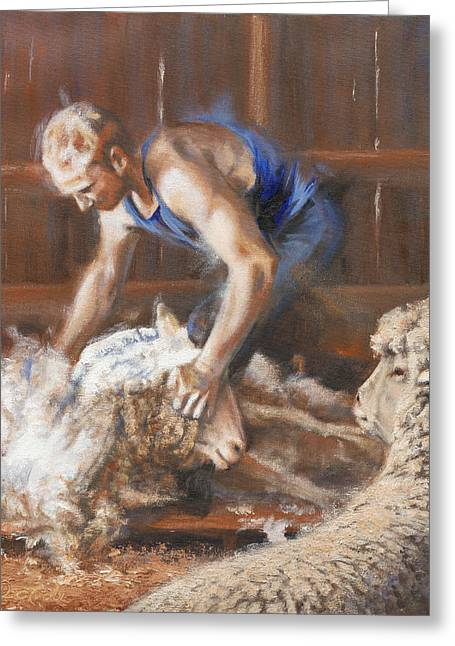 Mia Delode Greeting Cards - The Shearing Greeting Card by Mia DeLode