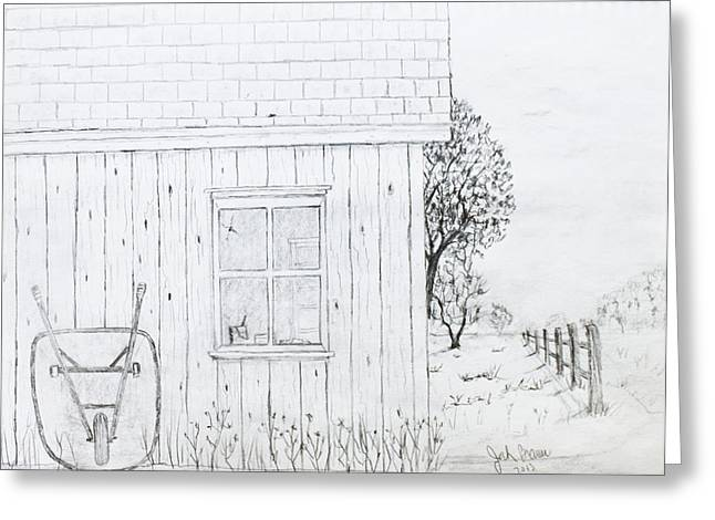 Shed Drawings Greeting Cards - The Shed Greeting Card by Jack G  Brauer