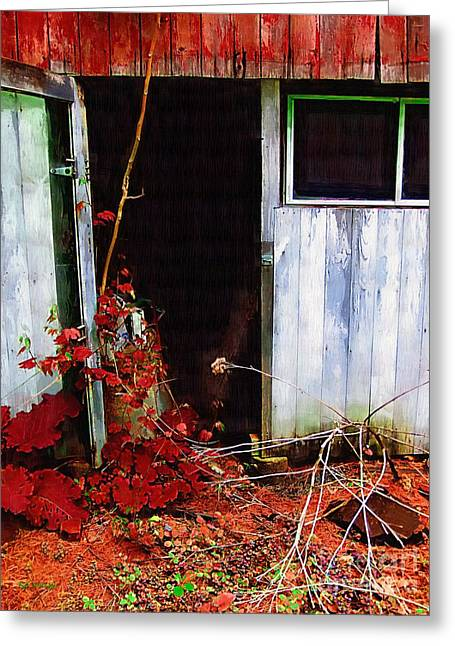 Sheds Greeting Cards - The Shed Out Back in Autumn Greeting Card by RC deWinter