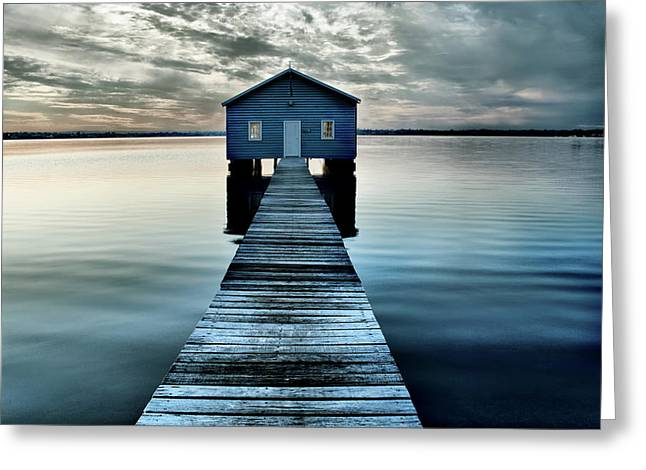 The Shed Upon The Water Greeting Card by Kym Clarke