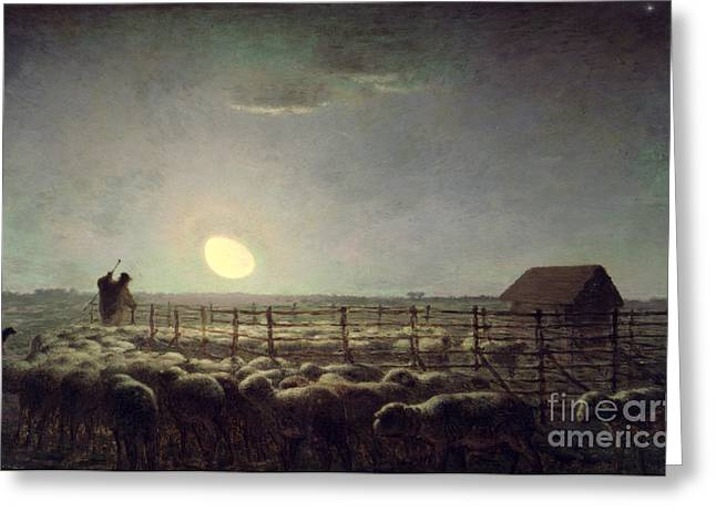 Flock Greeting Cards - The Sheepfold   Moonlight Greeting Card by Jean Francois Millet